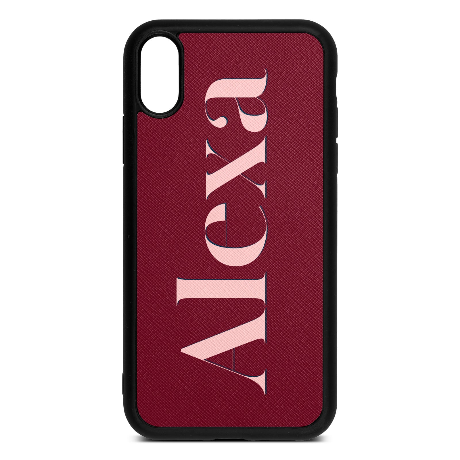 Personalised Dark Red Saffiano Leather iPhone XR Case