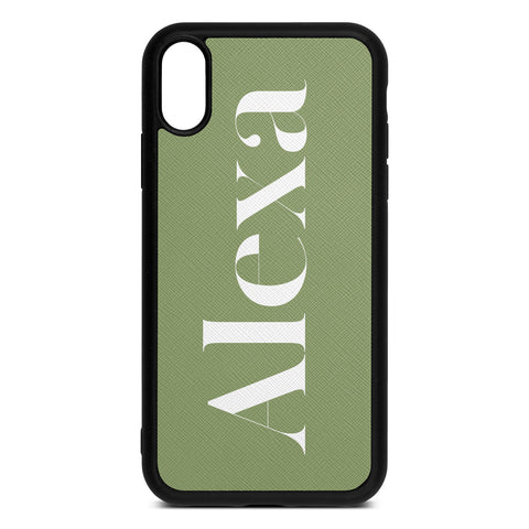 Personalised Drop Shadow Lime Green Leather iPhone Case