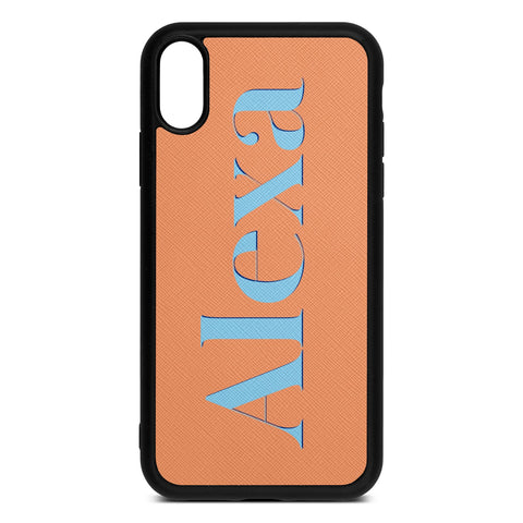 Personalised Drop Shadow Orange Leather iPhone Case