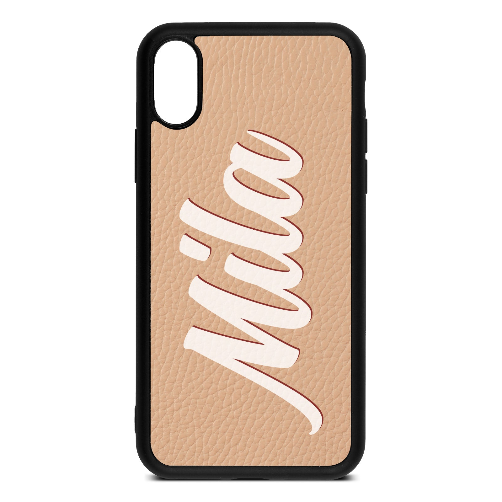 iPhone Xs Nude Pebble Leather Case