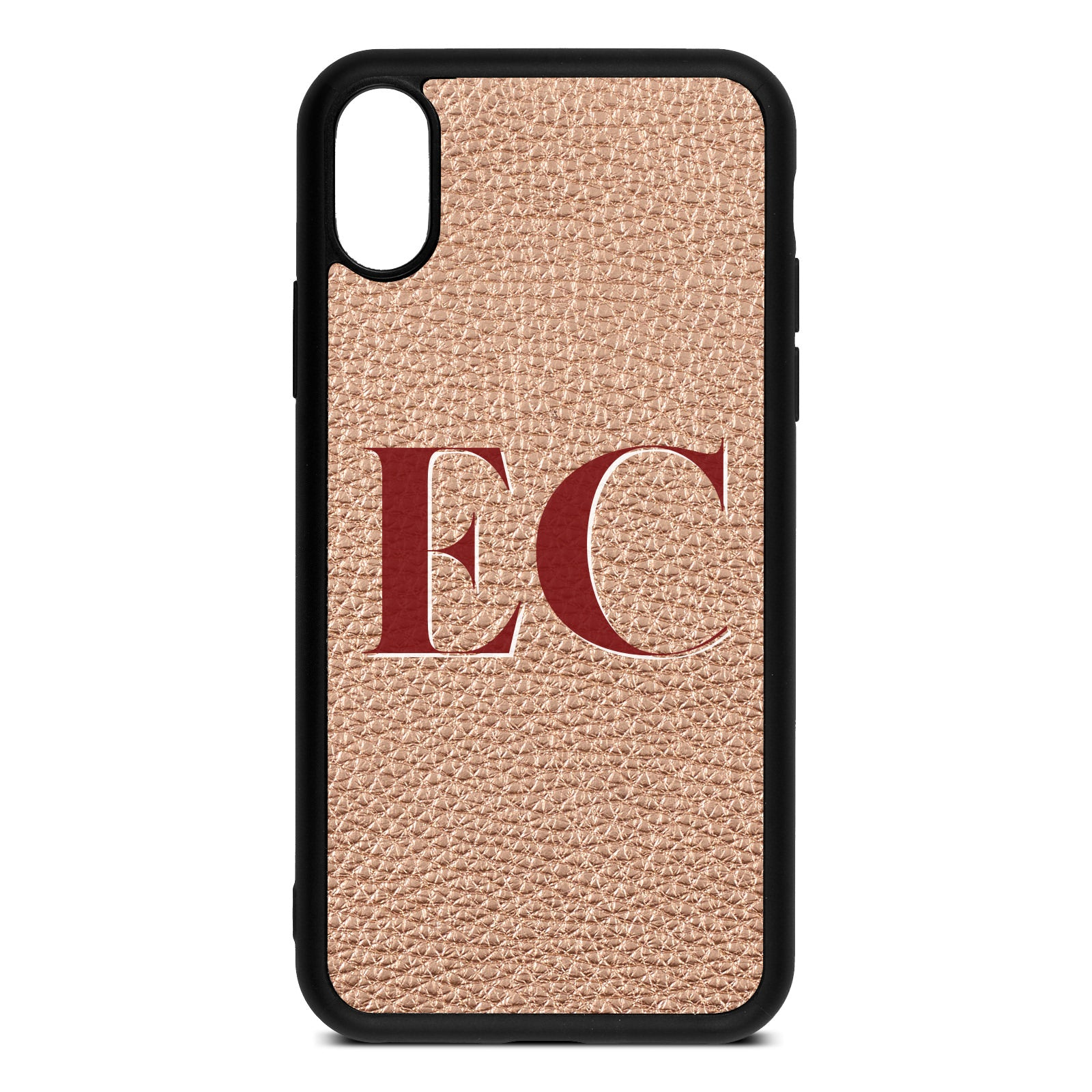 iPhone Xs Rose Gold Pebble Leather Case