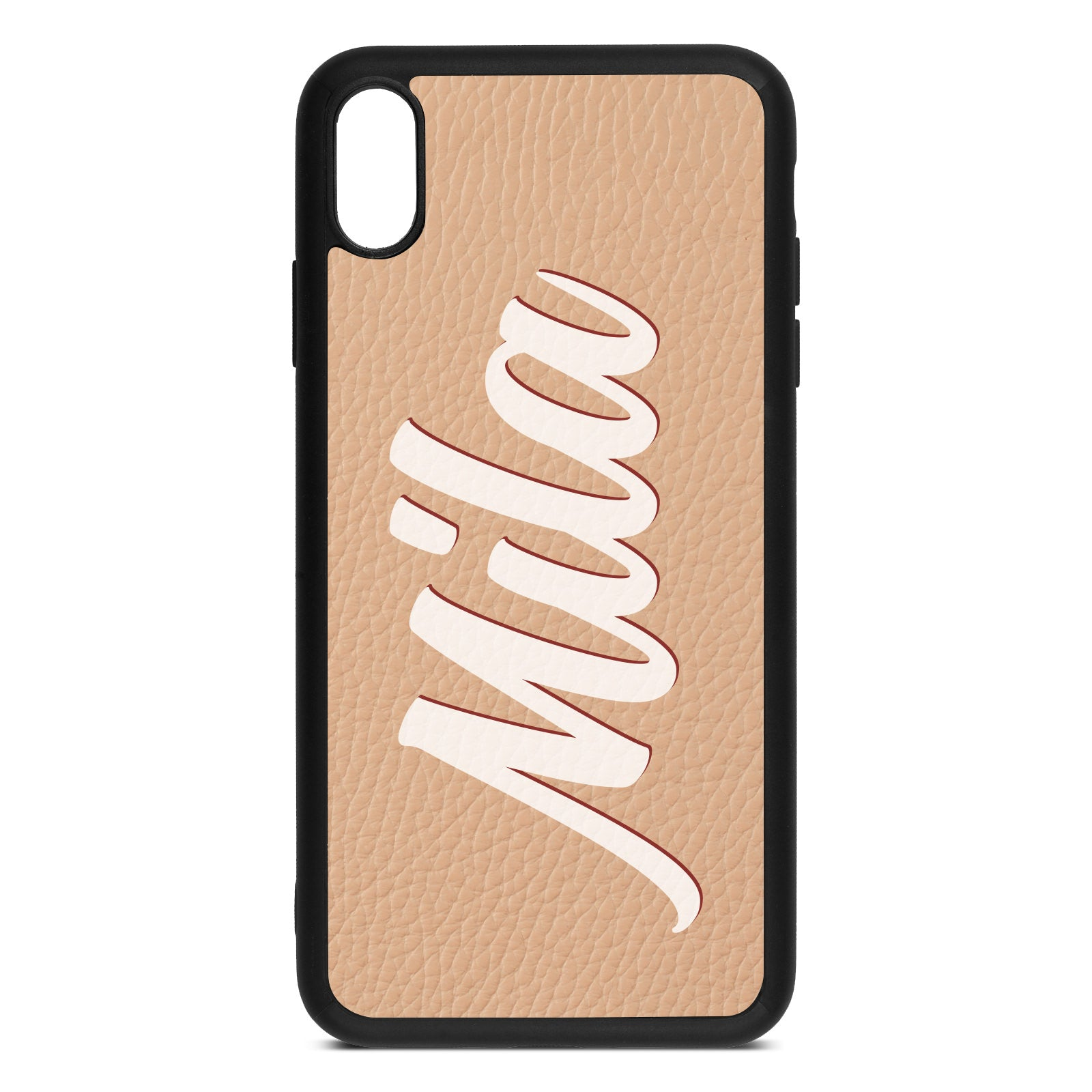 iPhone Xs Max Nude Pebble Leather Case