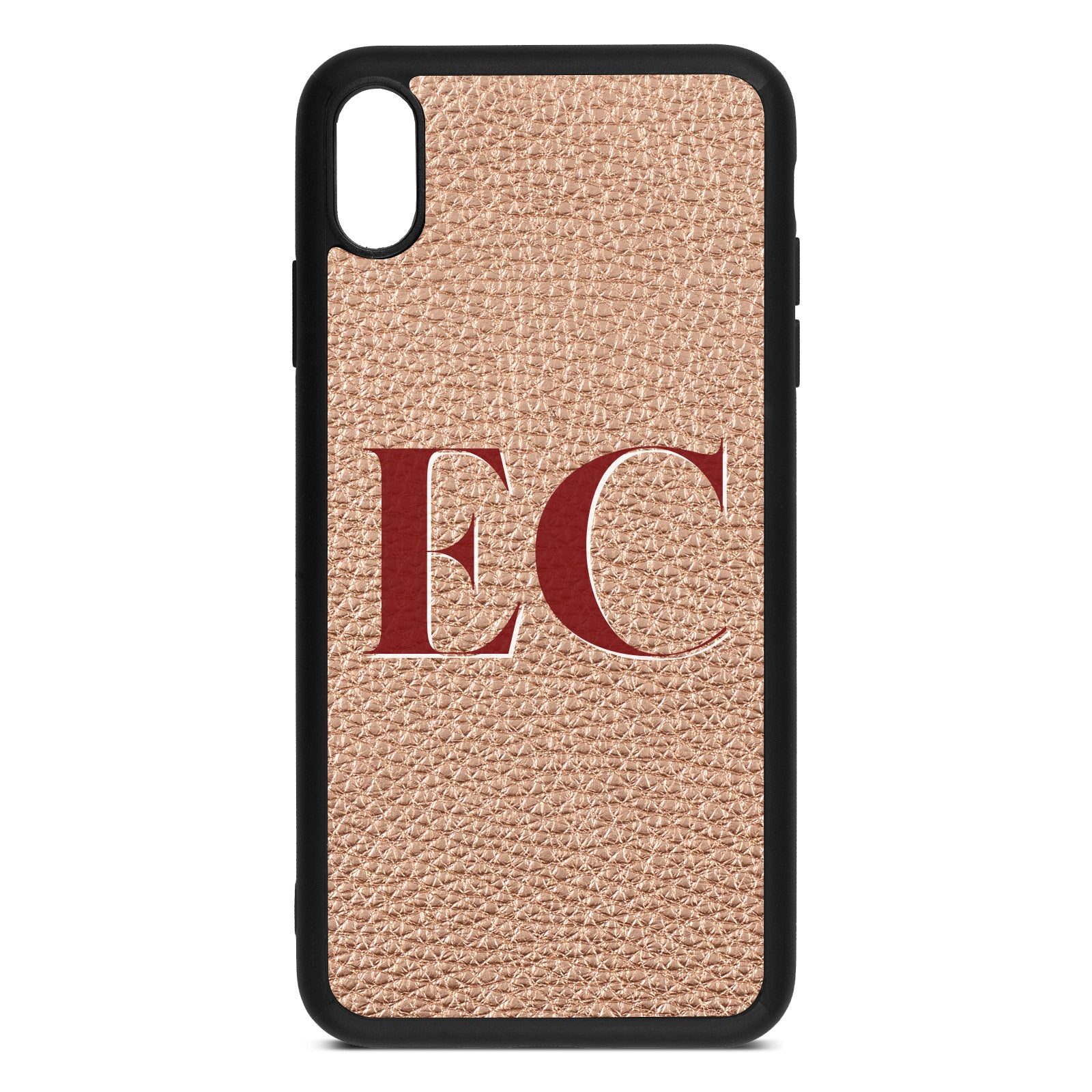 iPhone Xs Max Rose Gold Pebble Leather Case