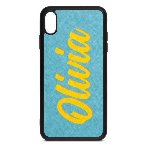 Personalised Drop Shadow Sky Blue Leather iPhone Case