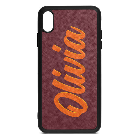 Personalised Drop Shadow Brown Rose Leather iPhone Case