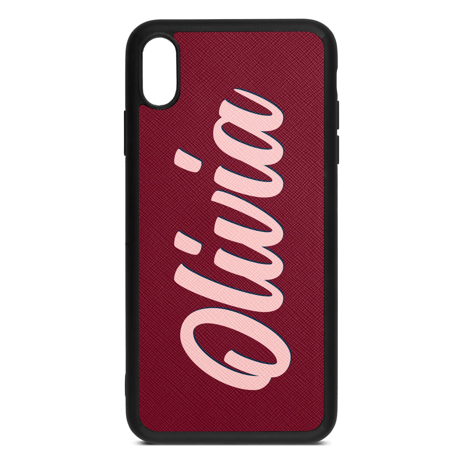 Personalised Dark Red Saffiano Leather iPhone XS Max Case