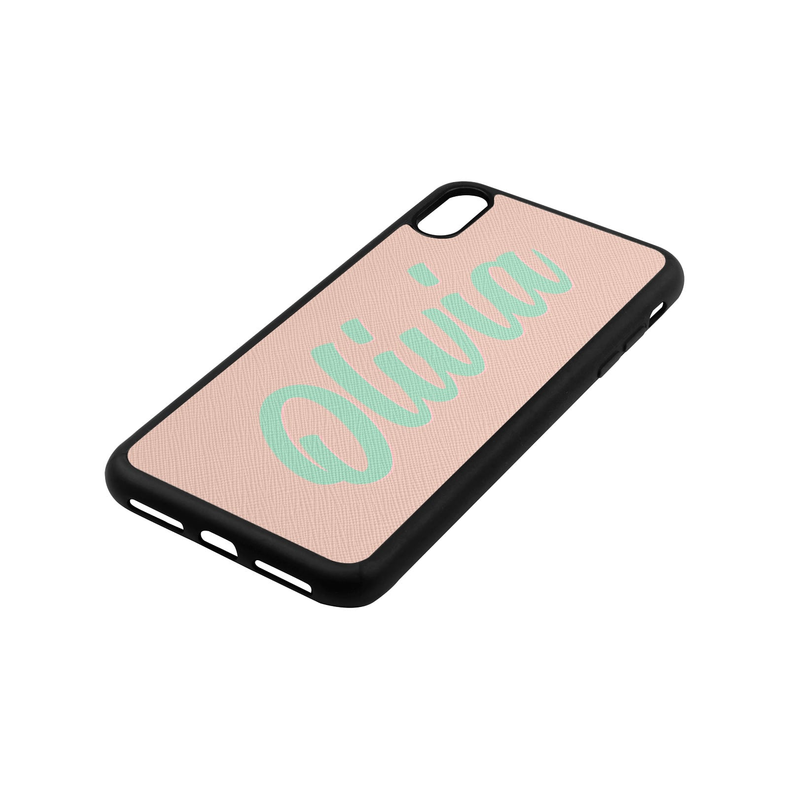 Personalised Drop Shadow Nude Leather iPhone Case