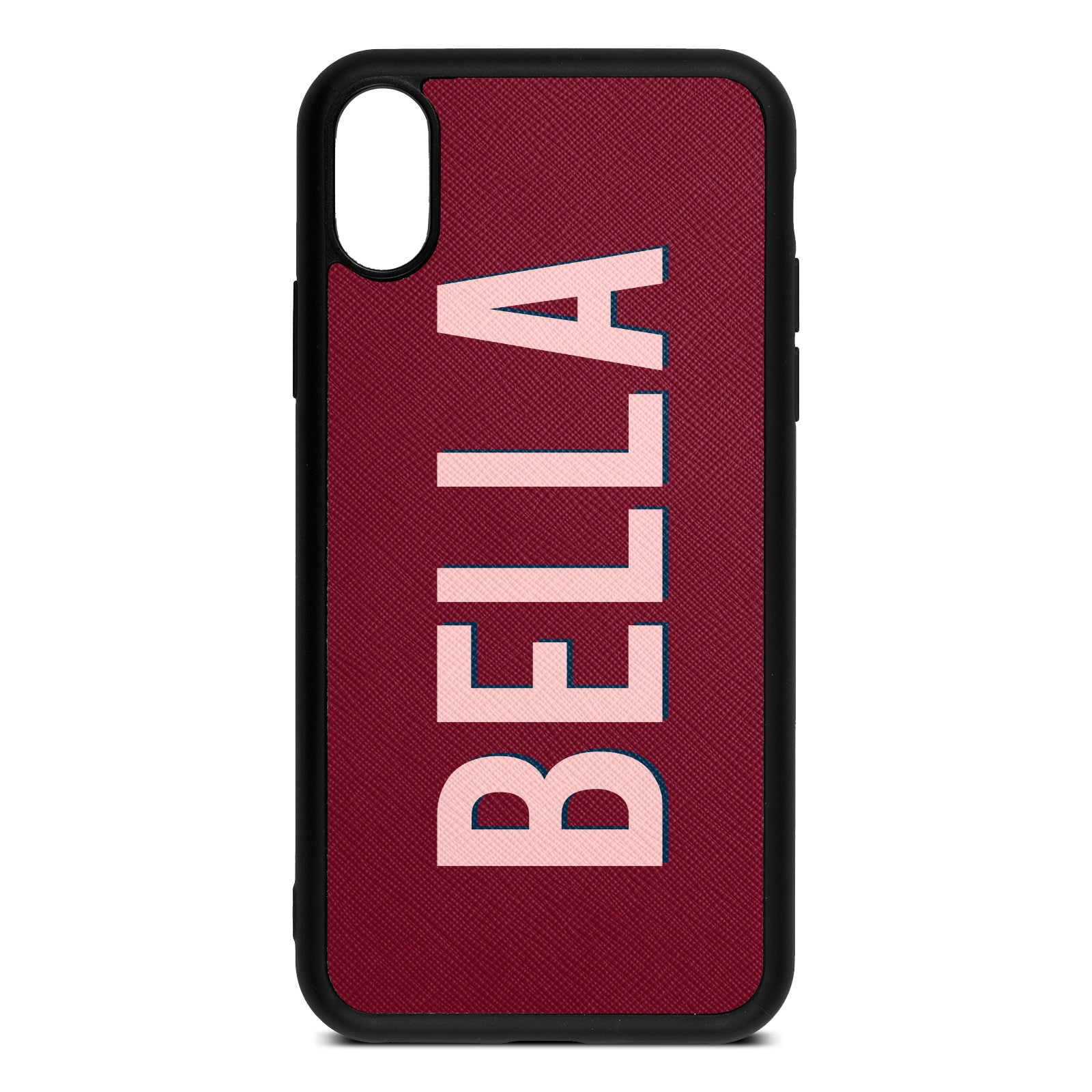 Personalised Dark Red Saffiano Leather iPhone XS Case