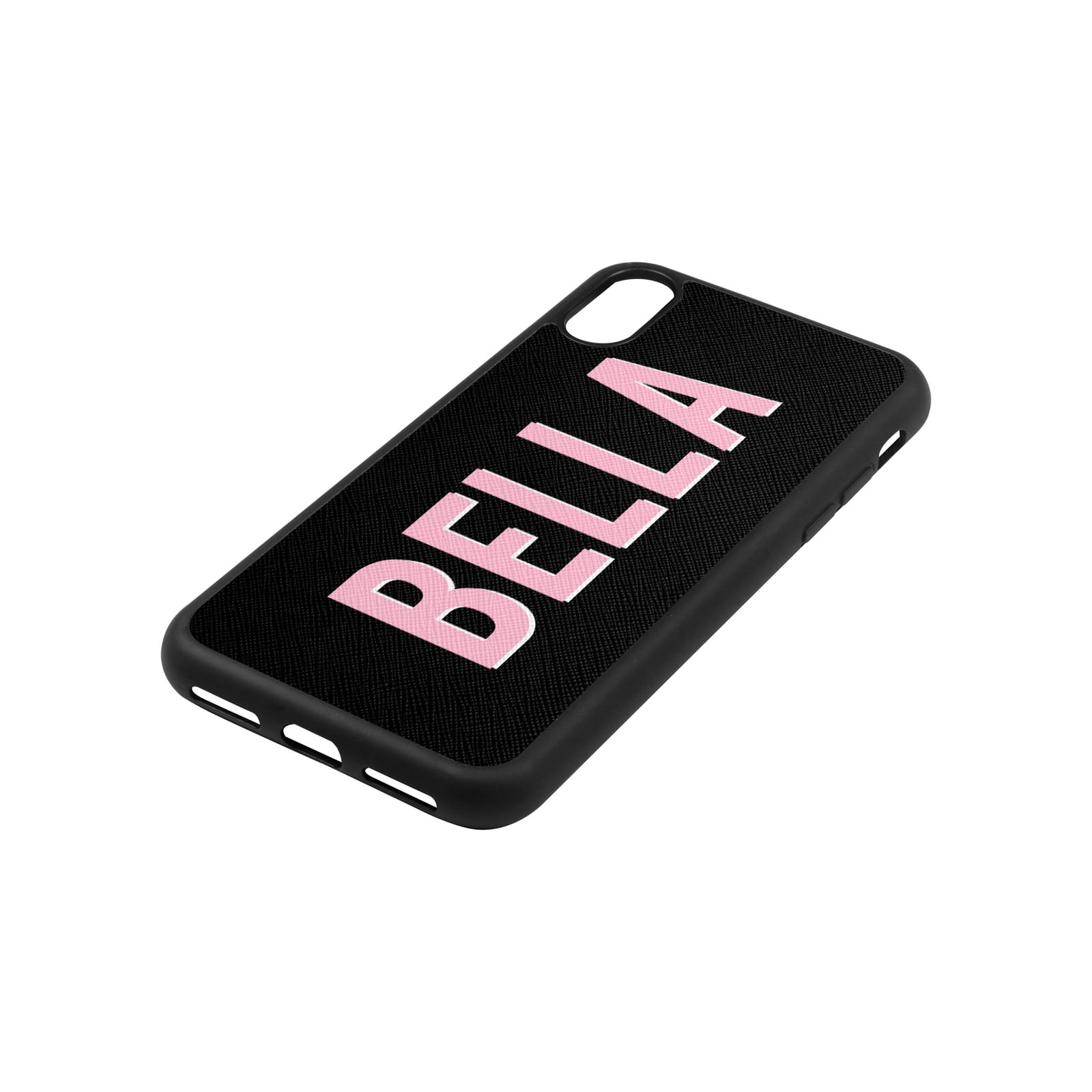 Personalised Drop Shadow Black Leather iPhone Case