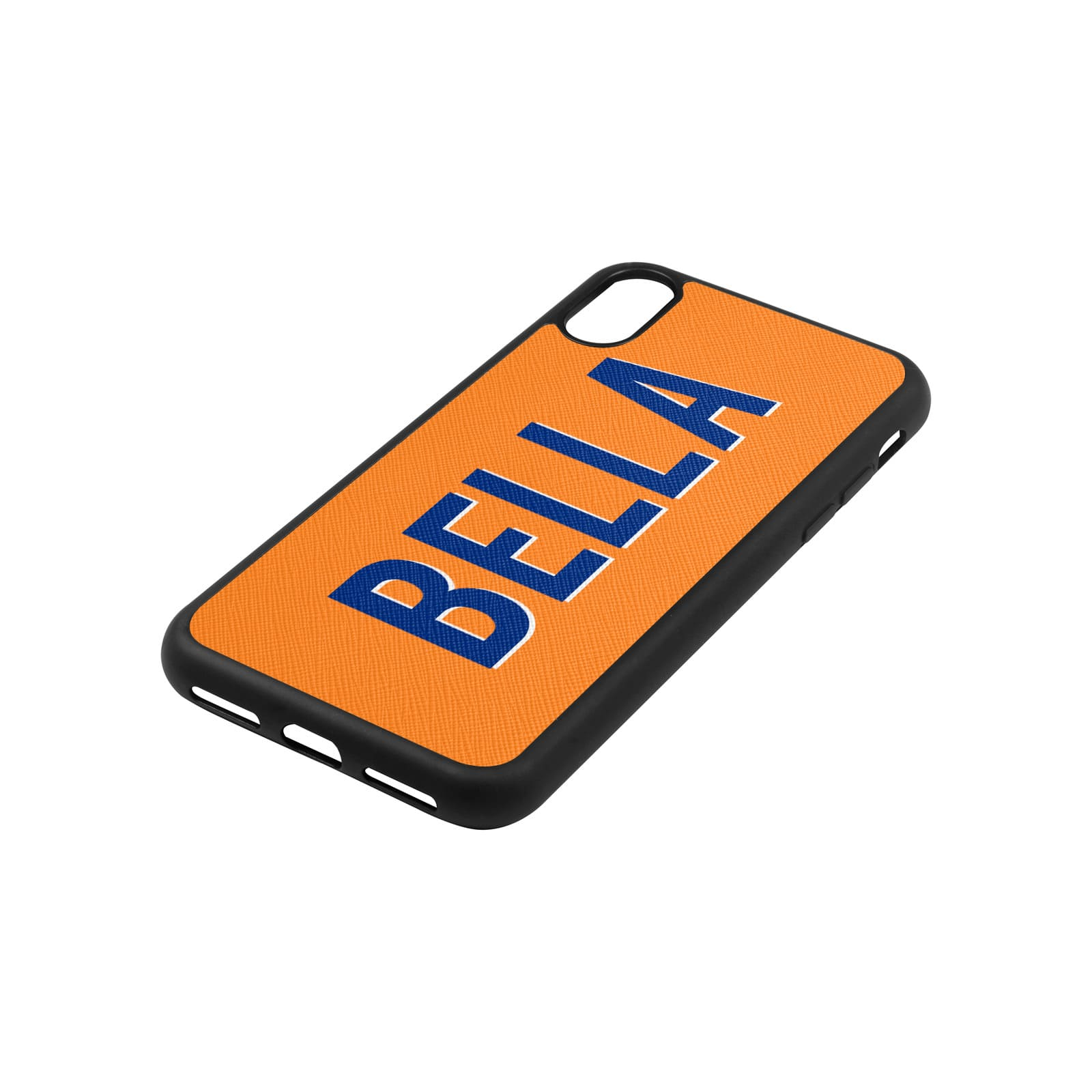 Personalised Drop Shadow Saffron Leather iPhone Case