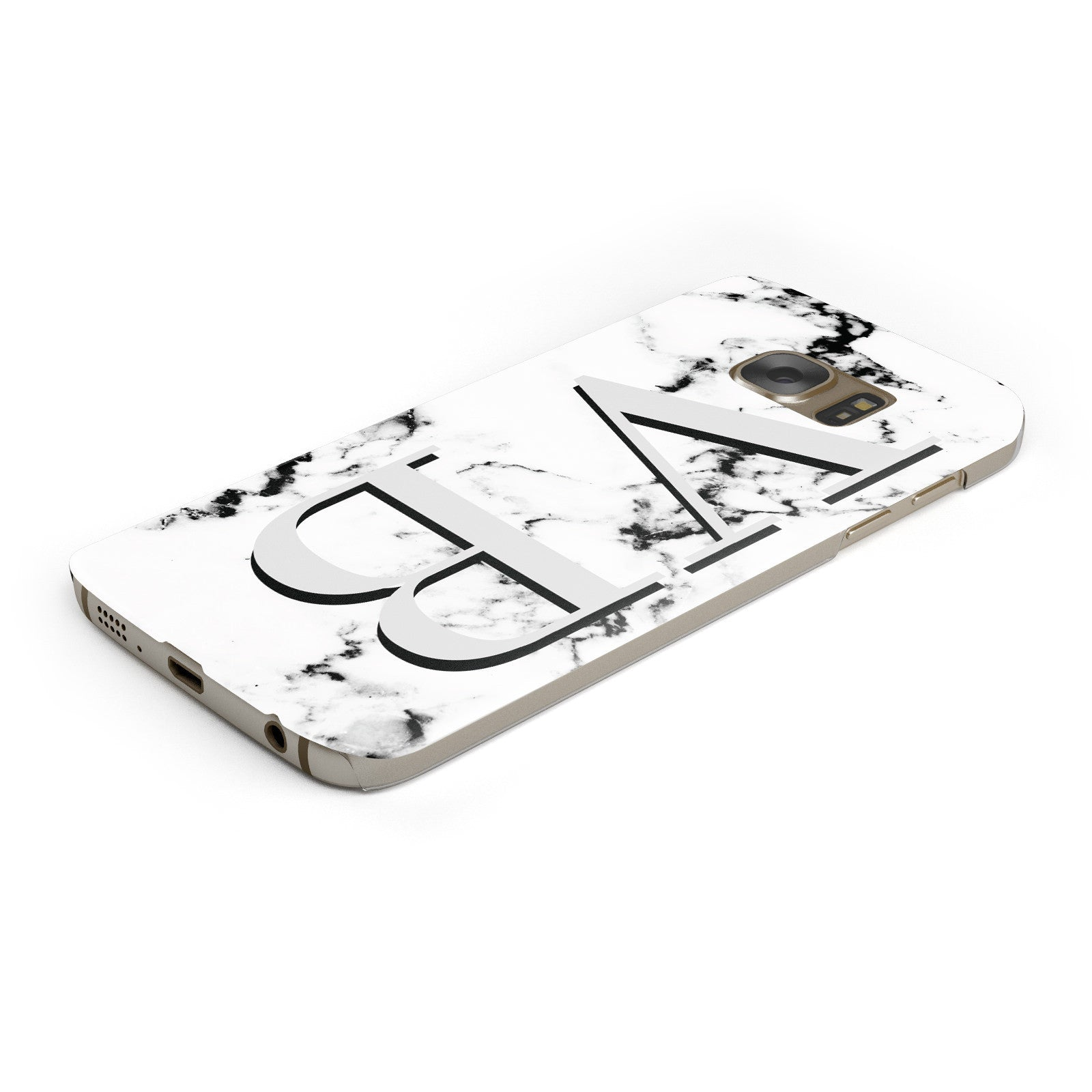 Personalised Landscape Initials With Marble Samsung Galaxy Case Bottom Cutout