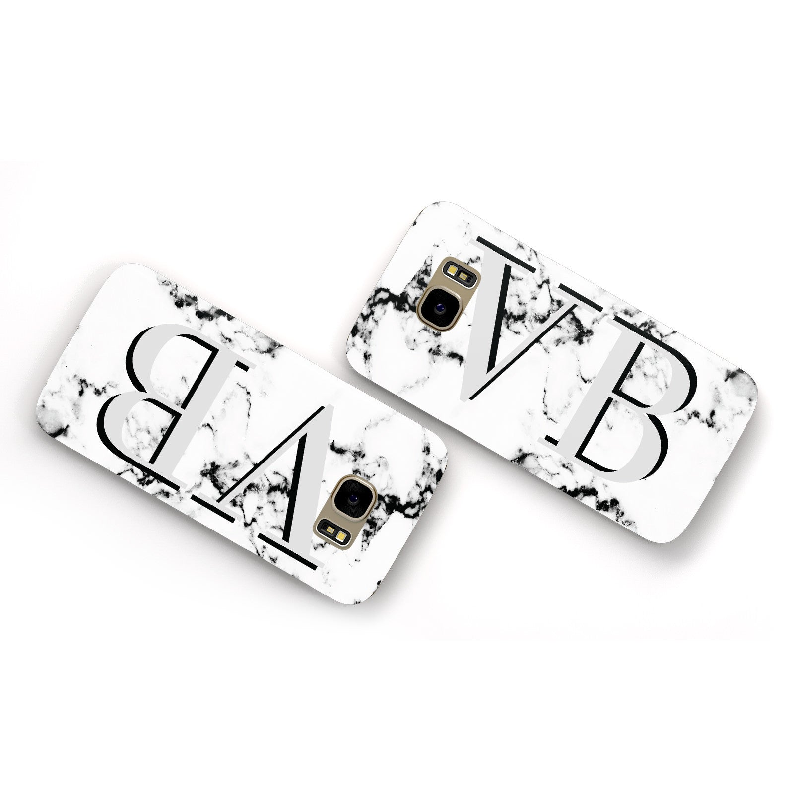 Personalised Landscape Initials With Marble Samsung Galaxy Case Flat Overview