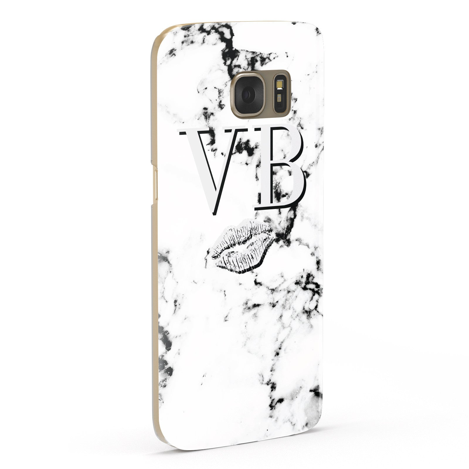 Personalised Lips Kiss Marble Initialed Samsung Galaxy Case Fourty Five Degrees