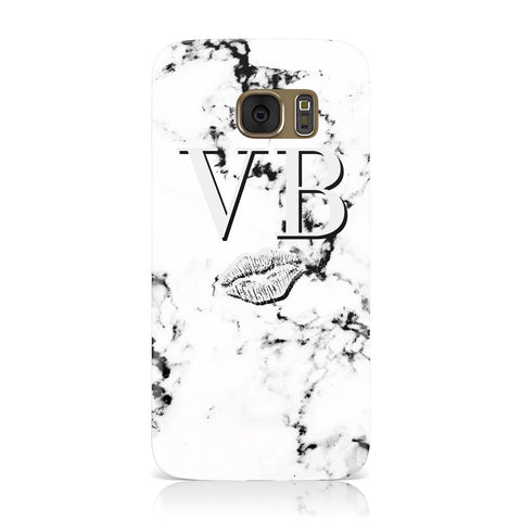 Personalised Lips Kiss Marble Initialed Samsung Galaxy Case