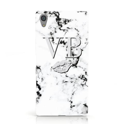 Personalised Lips Kiss Marble Initialed Sony Xperia Case