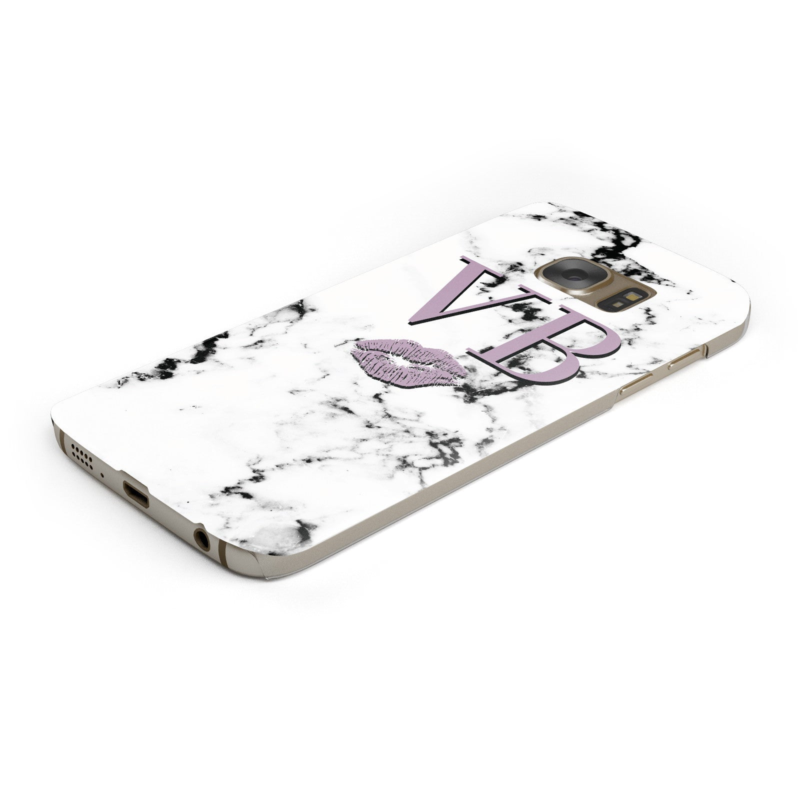 Personalised Lipstick Kiss Initials Marble Samsung Galaxy Case Bottom Cutout