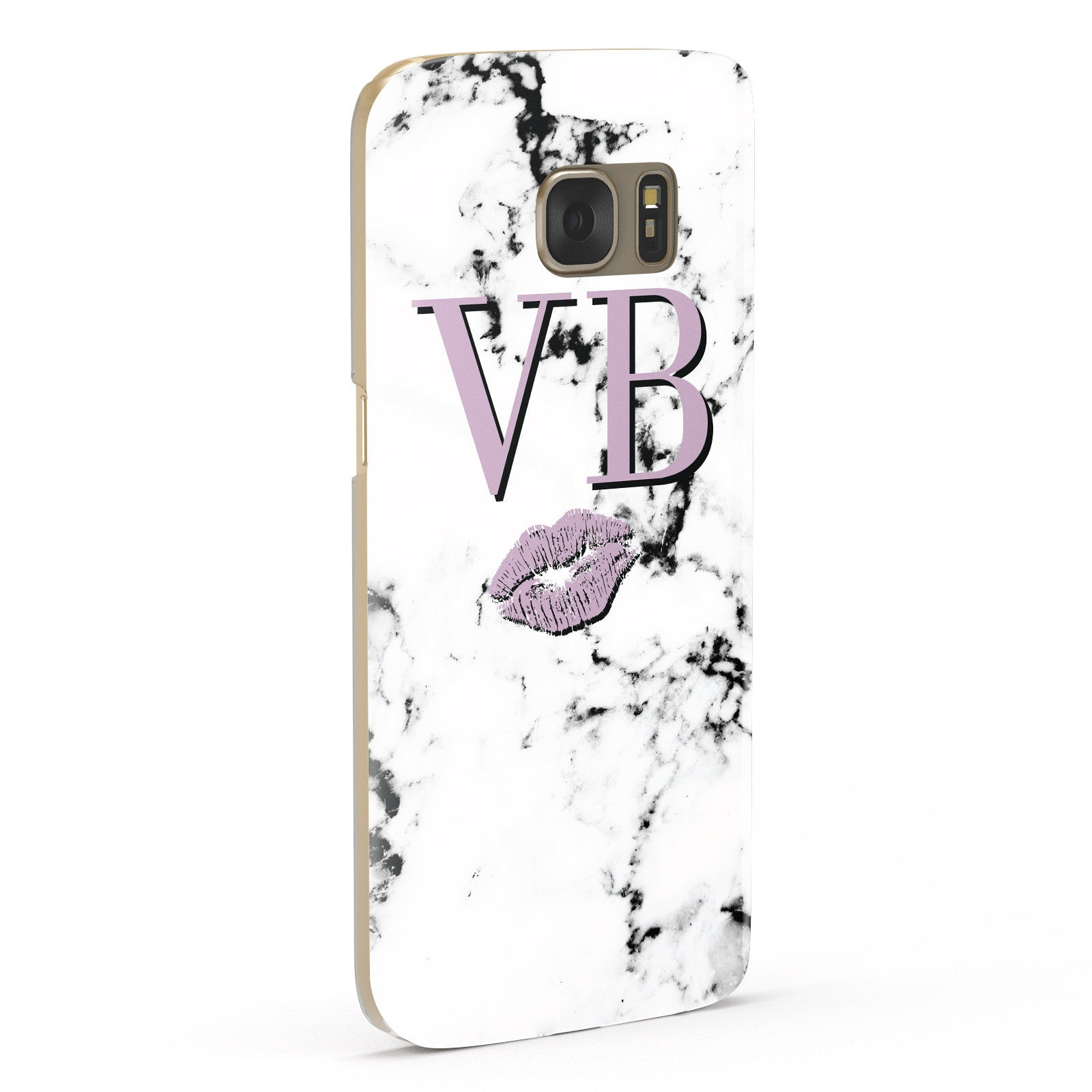 Personalised Lipstick Kiss Initials Marble Samsung Galaxy Case Fourty Five Degrees