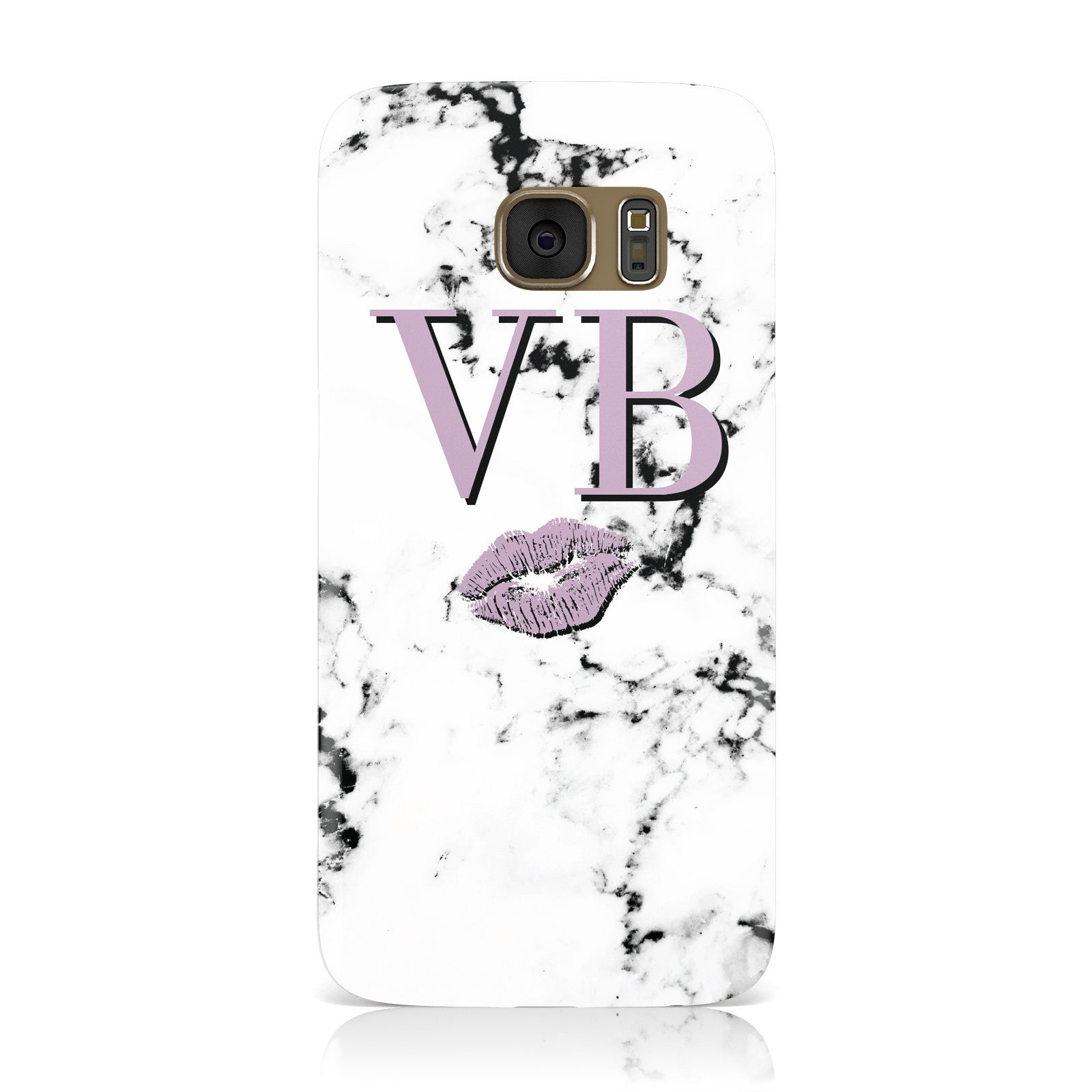 Personalised Lipstick Kiss Initials Marble Samsung Galaxy Case