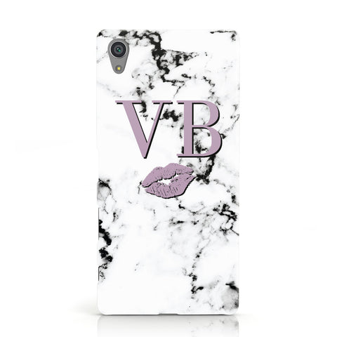 Personalised Lipstick Kiss Initials Marble Sony Xperia Case