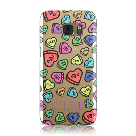 Personalised Love Hearts Initials Samsung Galaxy Case