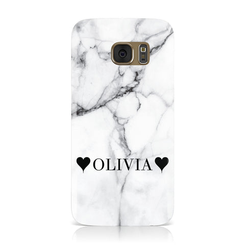 Personalised Love Hearts Marble Name Samsung Galaxy Case