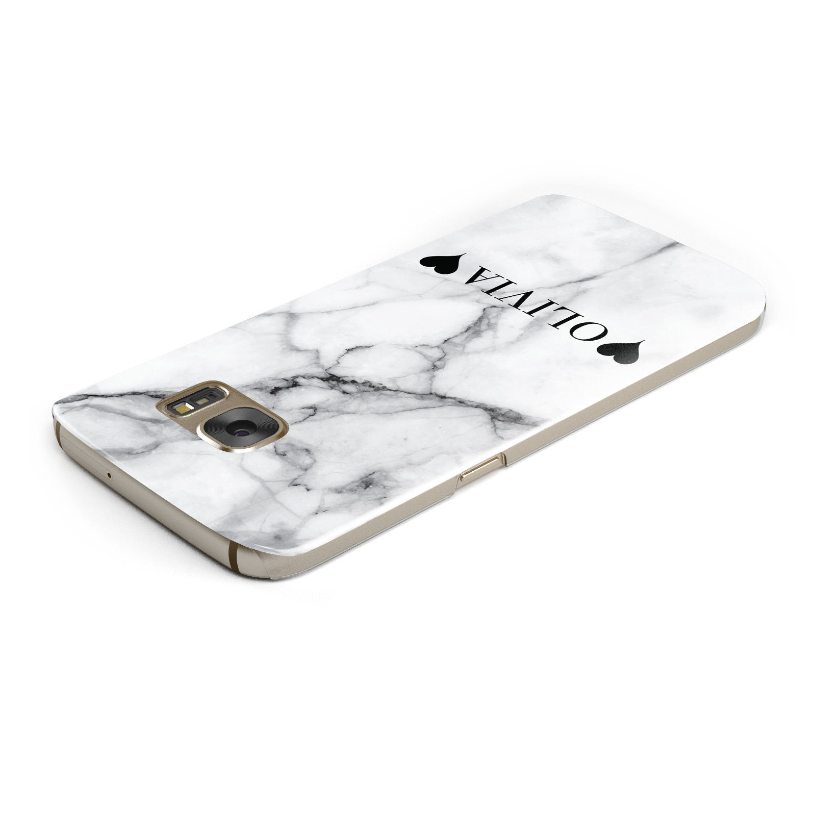 Personalised Love Hearts Marble Name Samsung Galaxy Case Top Cutout