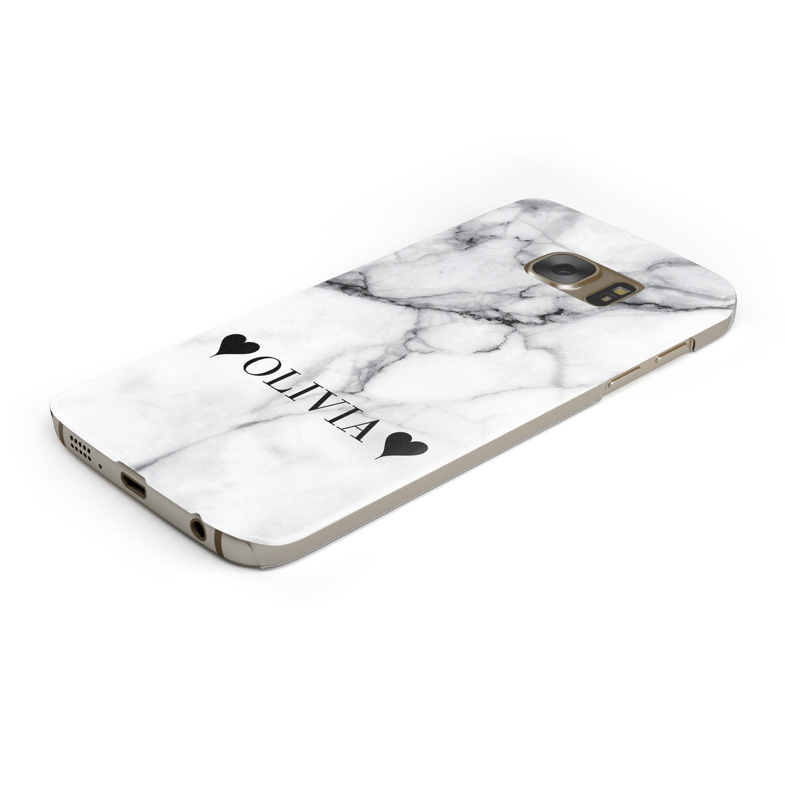 Personalised Love Hearts Marble Name Samsung Galaxy Case Bottom Cutout