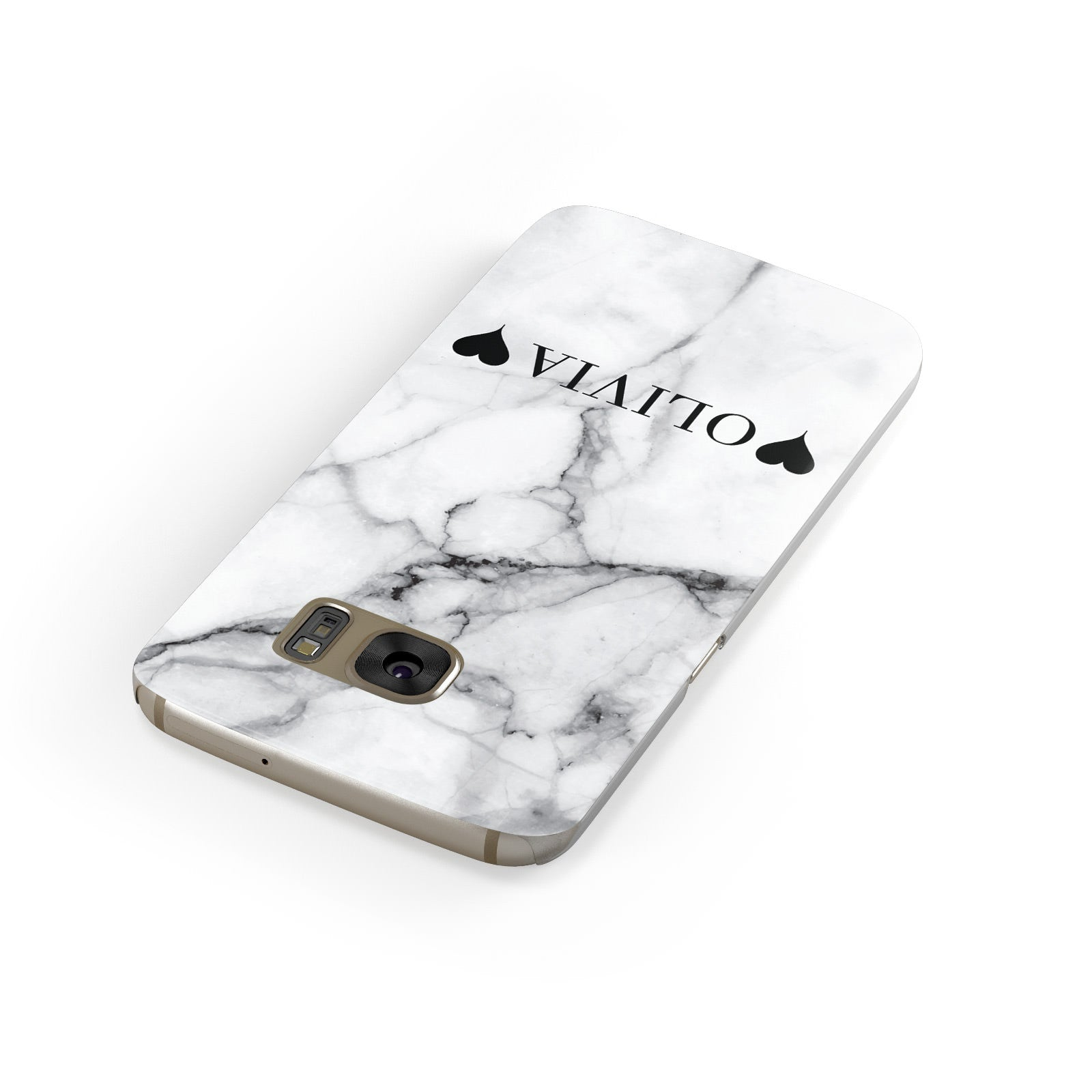 Personalised Love Hearts Marble Name Samsung Galaxy Case Front Close Up