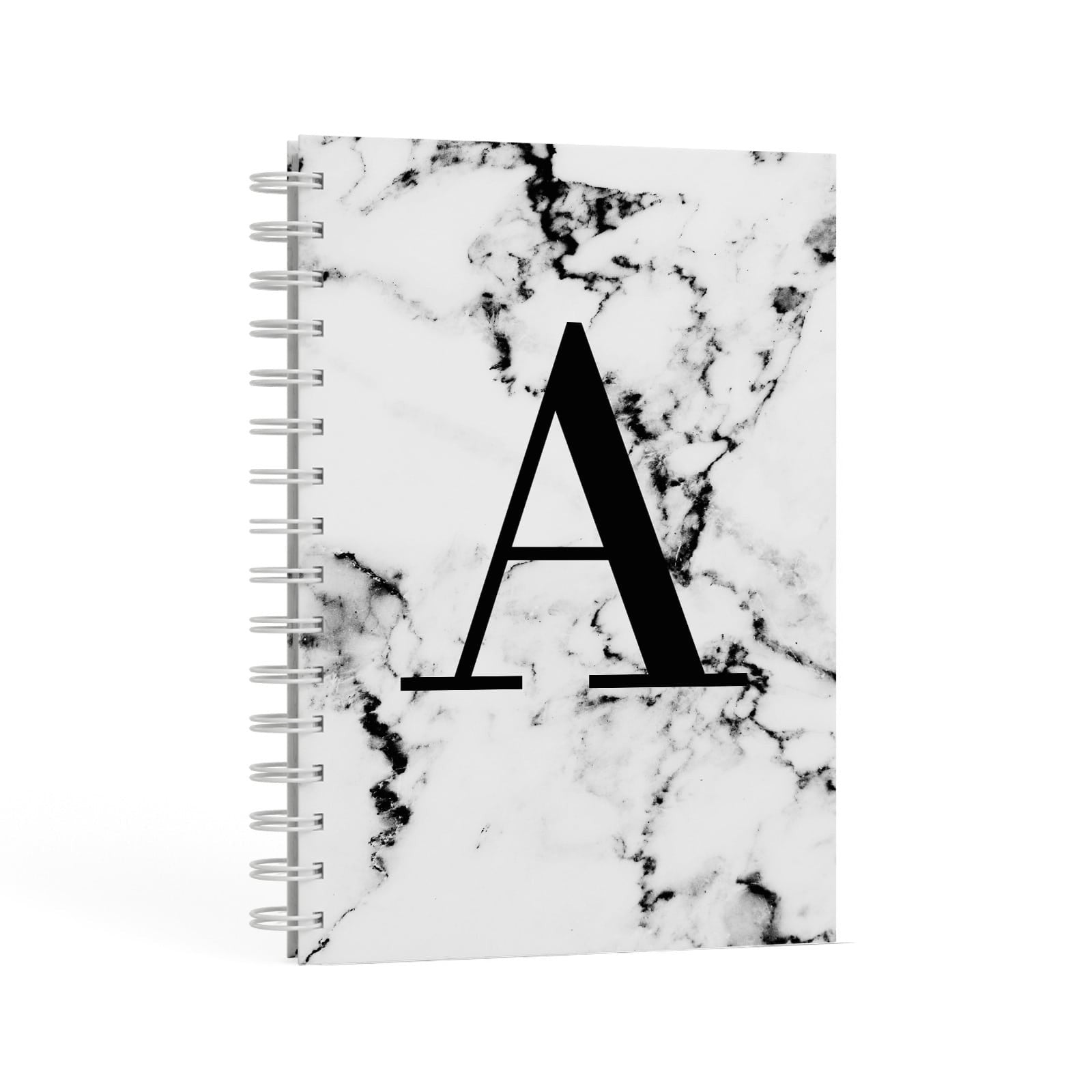 Marble Black Initial Personalised A5 Hardcover Notebook Second Side View