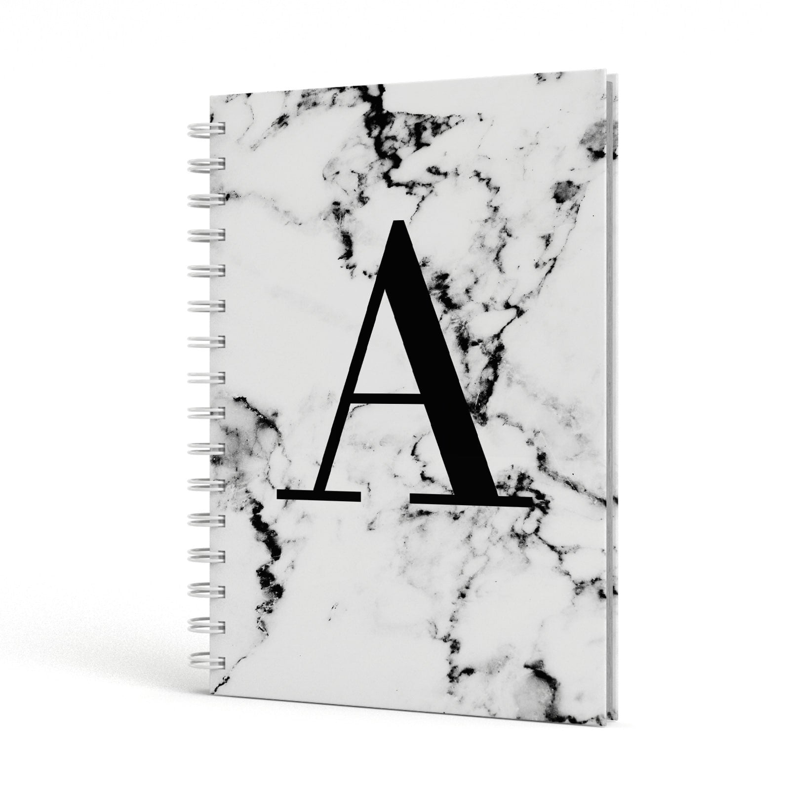Marble Black Initial Personalised A5 Hardcover Notebook Side View