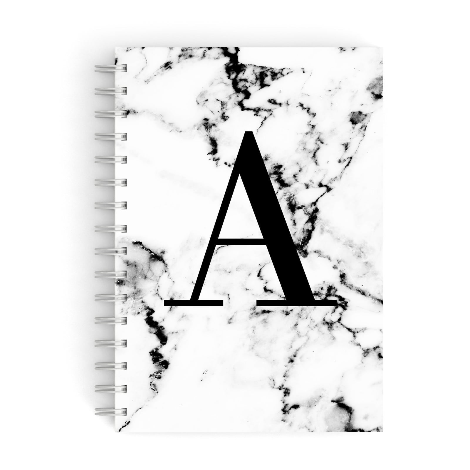 Marble Black Initial Personalised A5 Hardcover Notebook