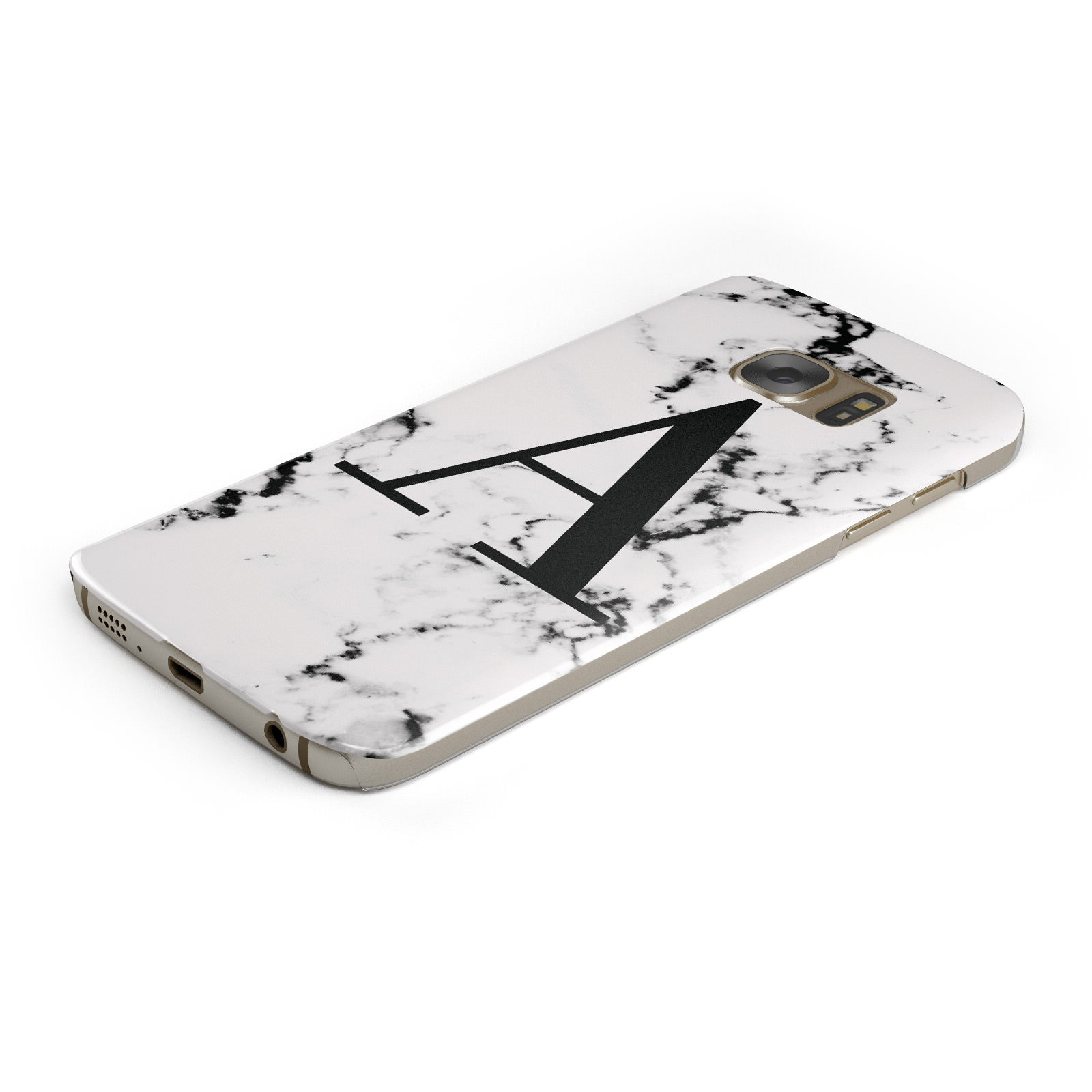 Marble Black Initial Personalised Samsung Galaxy Case Bottom Cutout