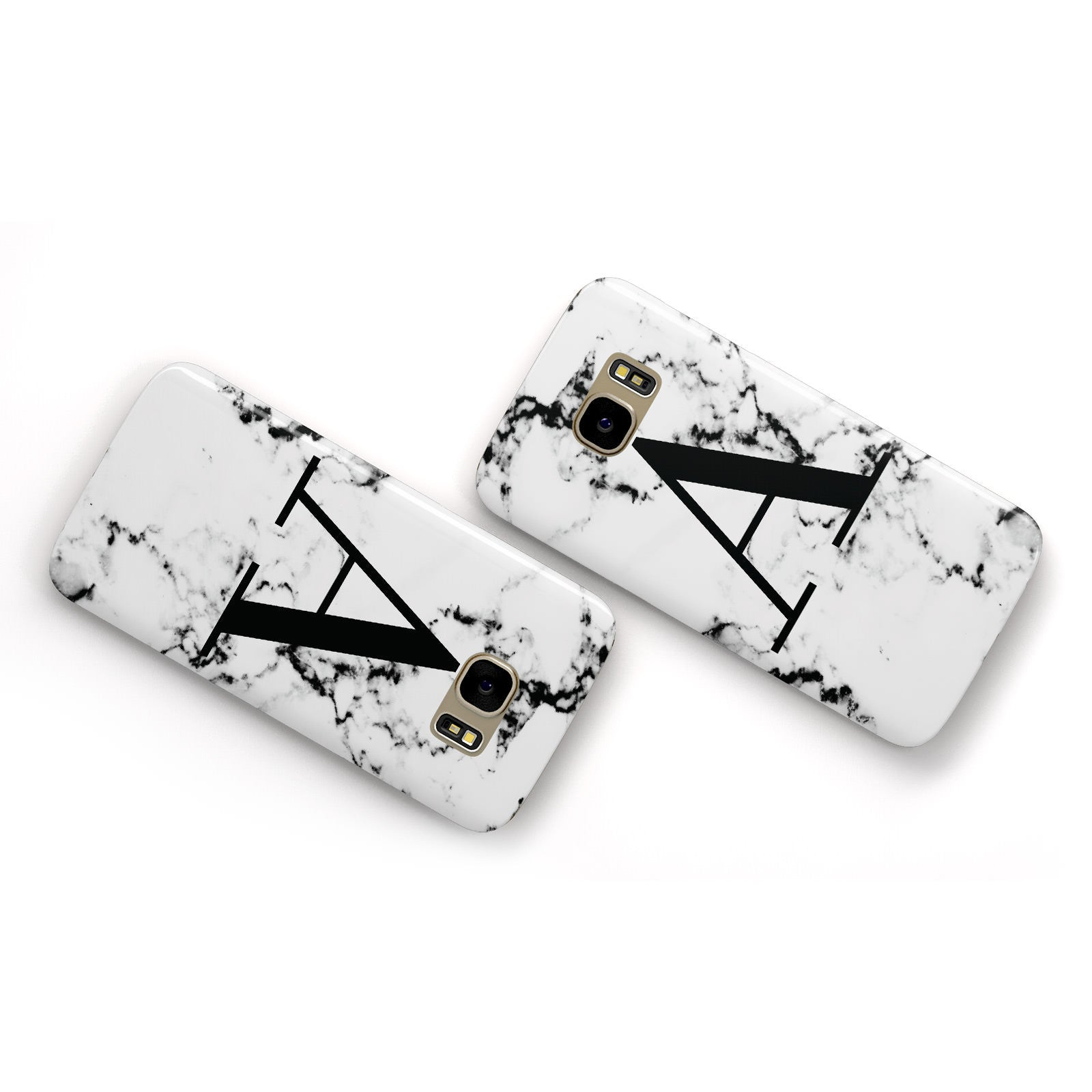 Marble Black Initial Personalised Samsung Galaxy Case Flat Overview