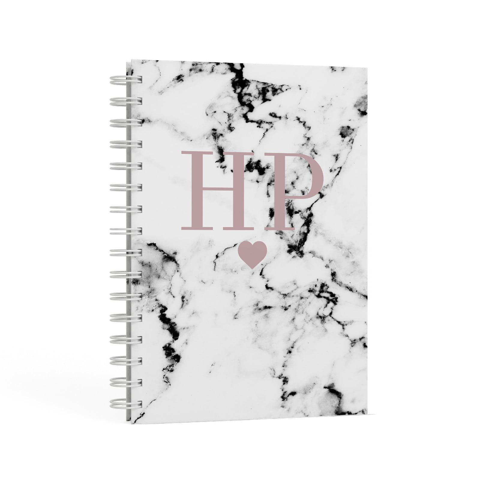 Marble Blush Pink Heart Personalised A5 Hardcover Notebook Second Side View