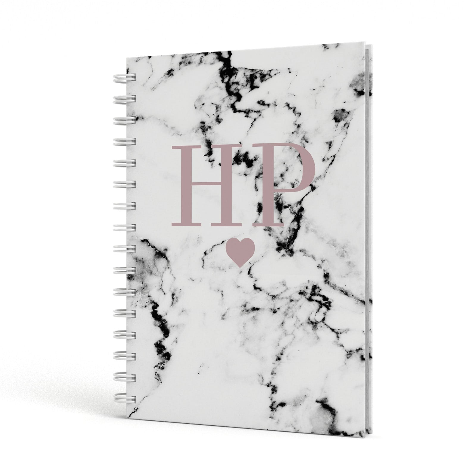 Marble Blush Pink Heart Personalised A5 Hardcover Notebook Side View