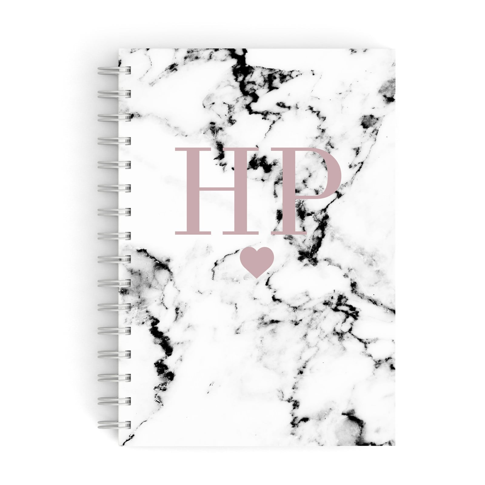 Marble Blush Pink Heart Personalised A5 Hardcover Notebook