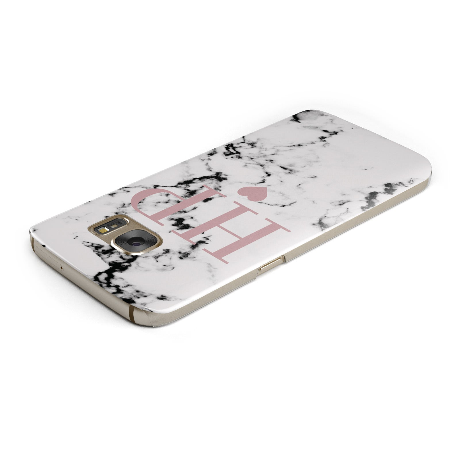 Marble Blush Pink Heart Personalised Samsung Galaxy Case Top Cutout