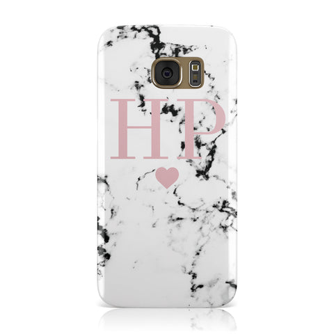 Marble Blush Pink Heart Personalised Samsung Galaxy Case