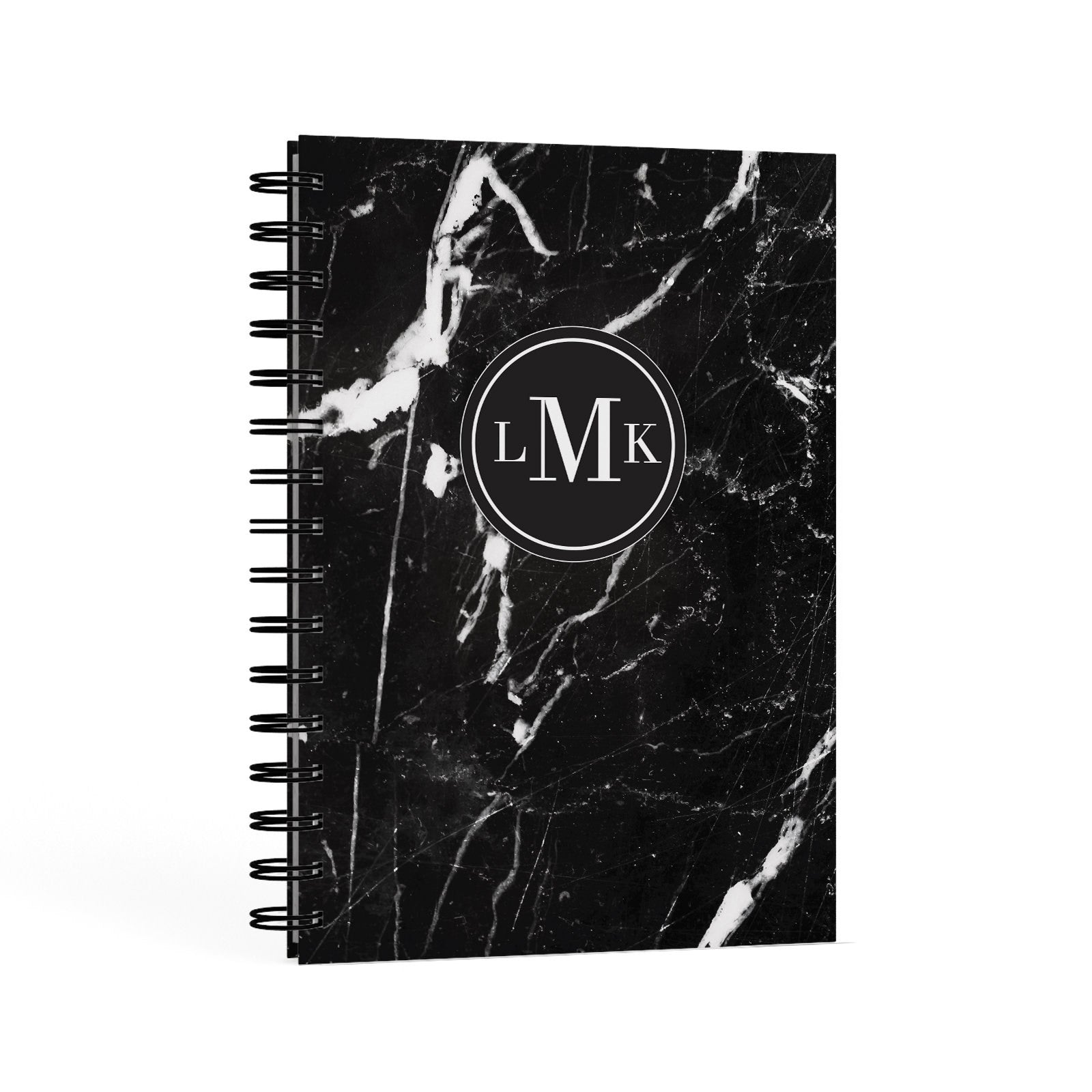 Marble Custom Initials Circle A5 Hardcover Notebook Second Side View