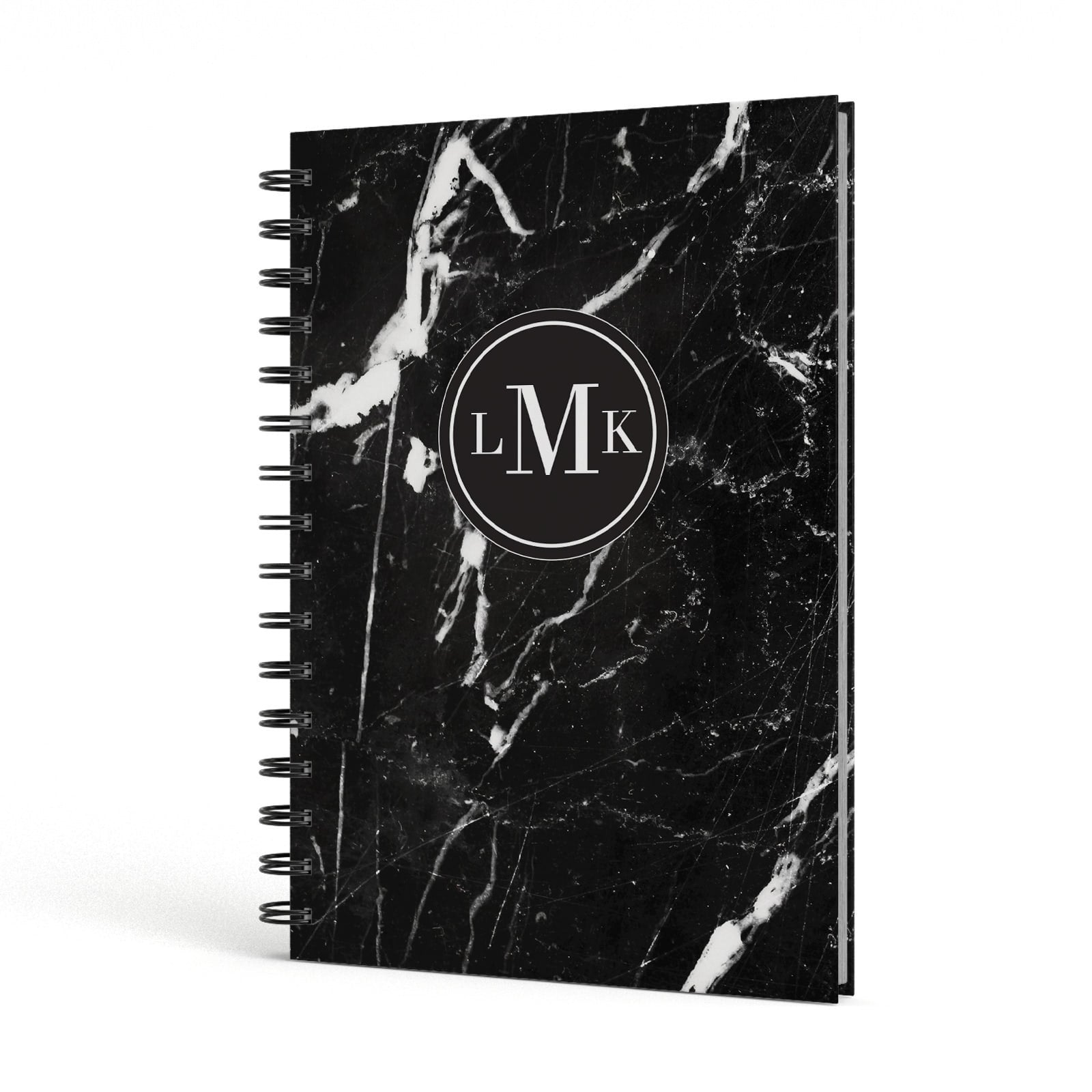 Marble Custom Initials Circle A5 Hardcover Notebook Side View