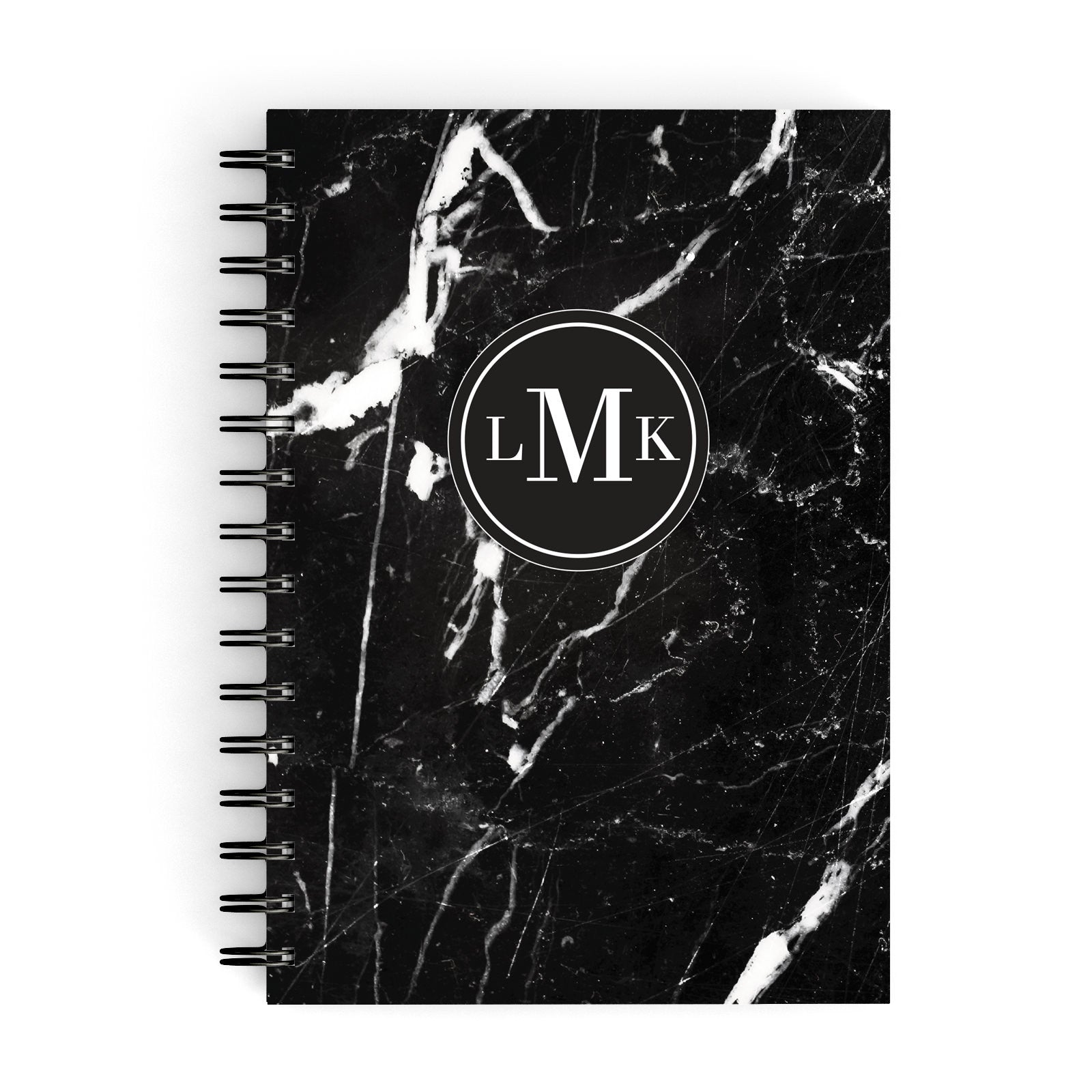 Marble Custom Initials Circle A5 Hardcover Notebook