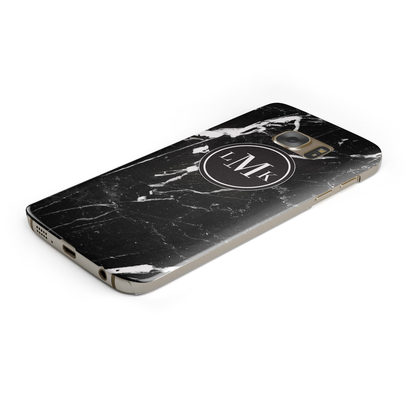 Marble Custom Initials Circle Samsung Galaxy Case Bottom Cutout