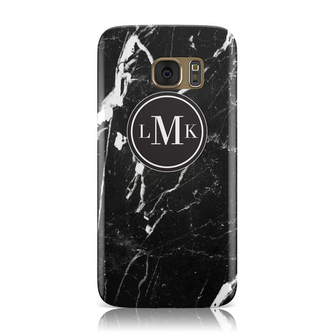 Marble Custom Initials Circle Samsung Galaxy Case