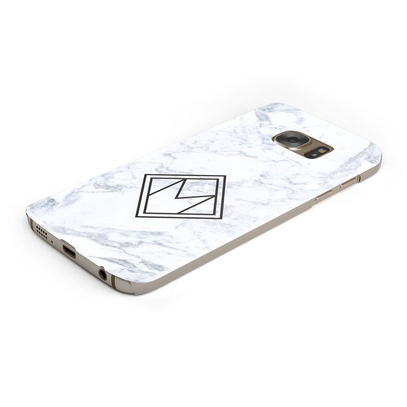 Personalised Marble Customised Initials Samsung Galaxy Case Bottom Cutout