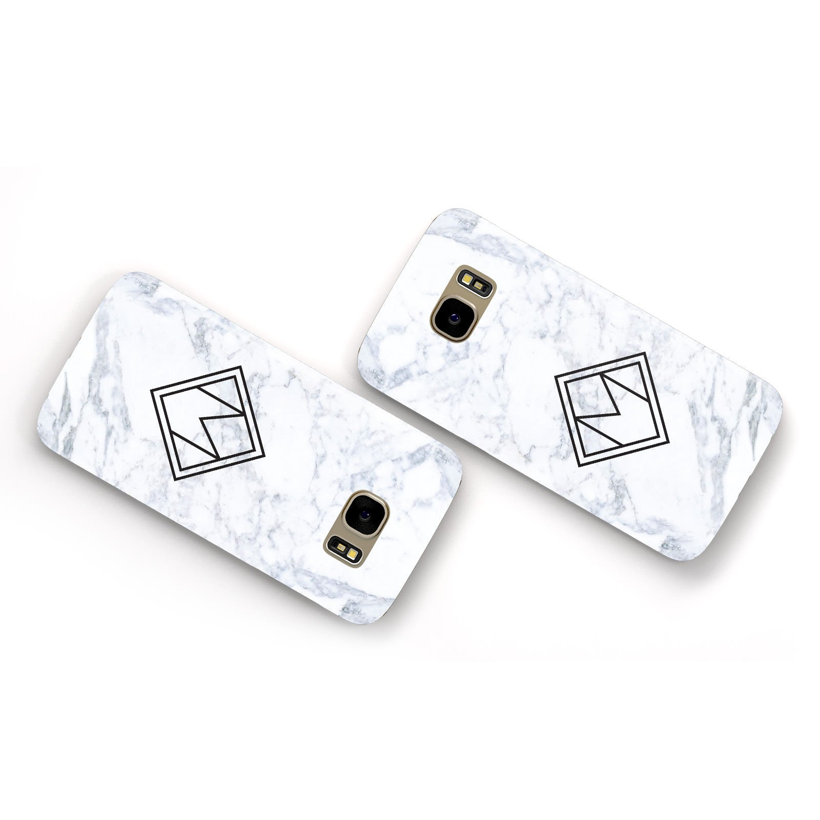 Personalised Marble Customised Initials Samsung Galaxy Case Flat Overview