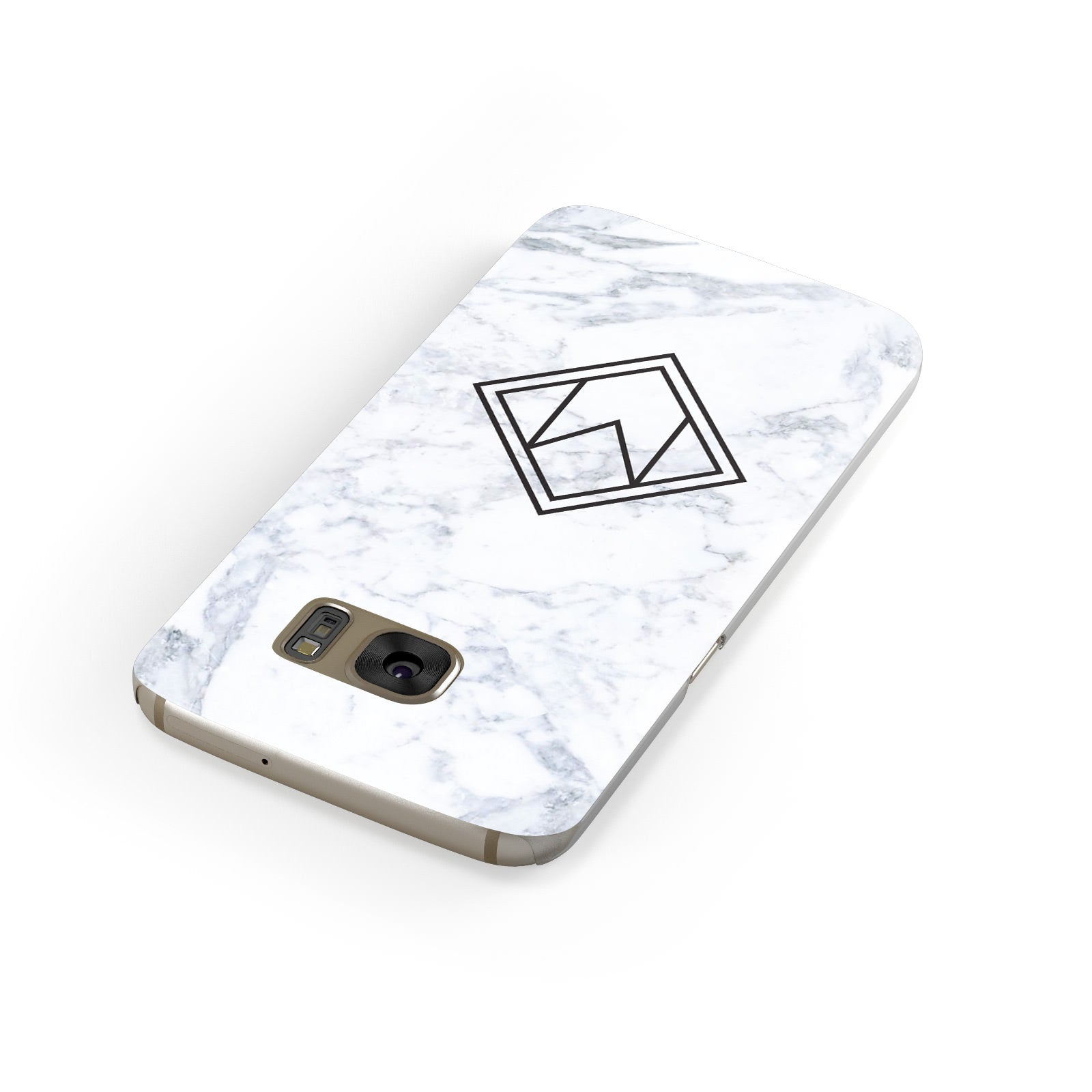 Personalised Marble Customised Initials Samsung Galaxy Case Front Close Up