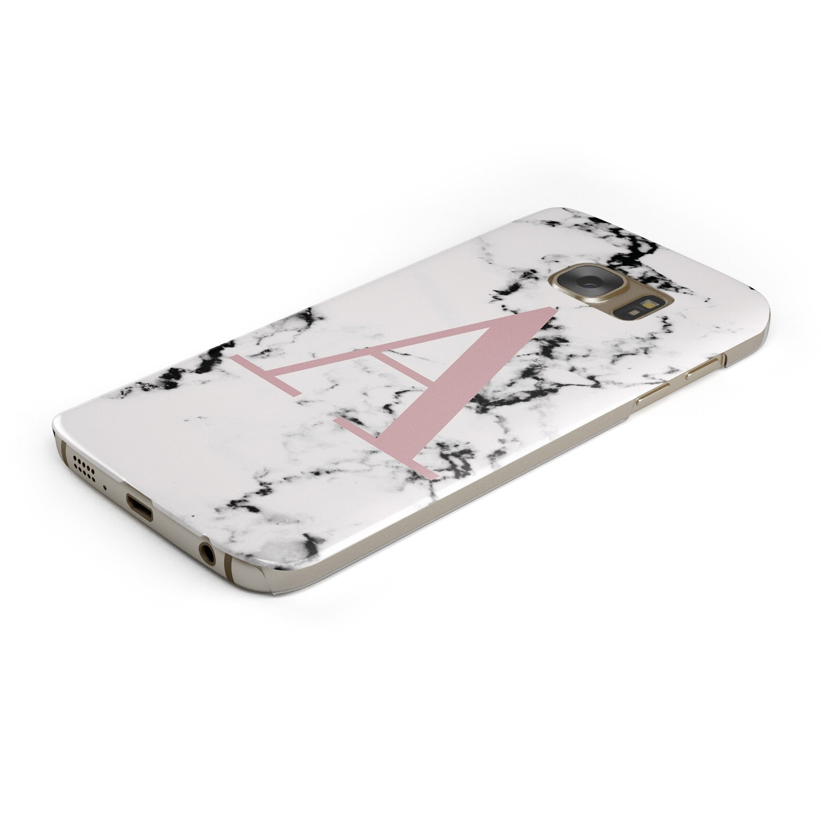 Marble Effect Pink Initial Personalised Samsung Galaxy Case Bottom Cutout