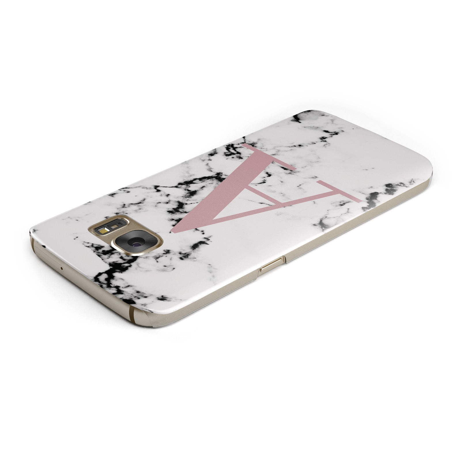 Marble Effect Pink Initial Personalised Samsung Galaxy Case Top Cutout