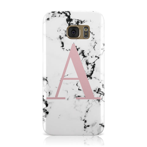 Marble Effect Pink Initial Personalised Samsung Galaxy Case