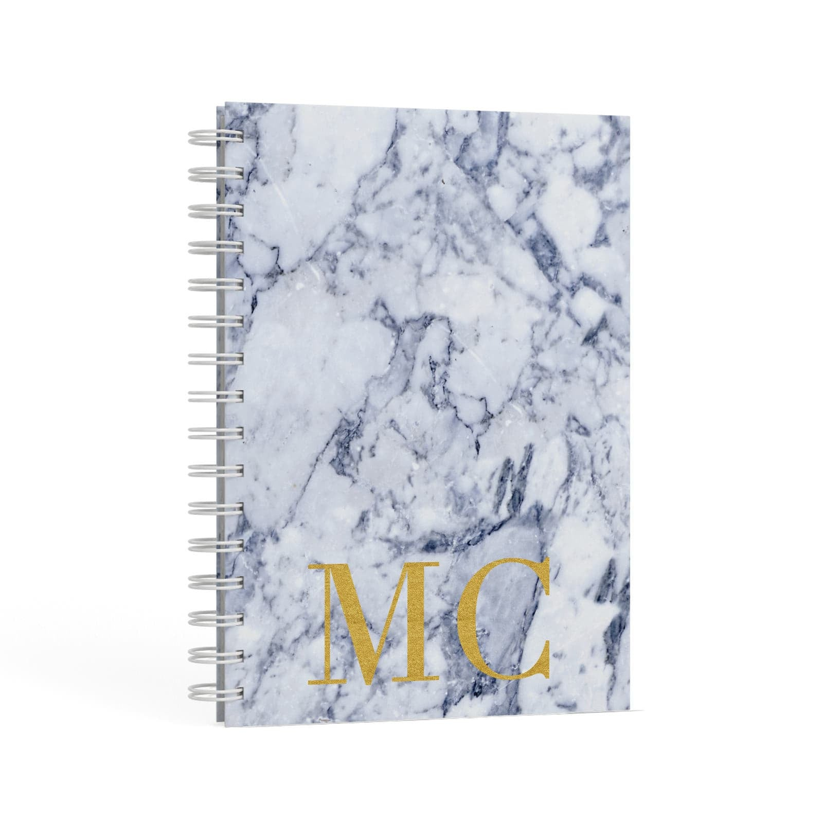 Marble Gold Initial Personalised A5 Hardcover Notebook Second Side View